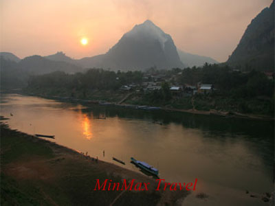 Sunset over Nam Ou River