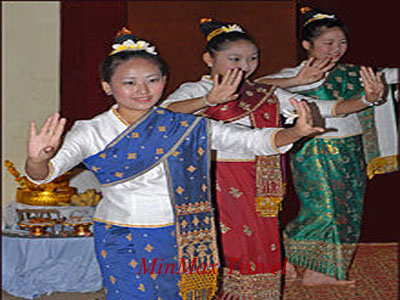 Traditional dancing during Baci ceremony in Vientiane